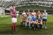 7 September 2016; Clontarf captain Ben Reilly, holding the Ulster Bank League trophy, and back row, from left, Niall Kenneally, Cork Constitution, Kyle McCoy, Terenure College, Bryan Mallon, Dublin University, Ian Prendiville, Lansdowne, Jamie Glynn, UCD; front row, from left, Sean Duggan, Young Munster, Michael O'Donnell, Garryowen, Brian McGovern, St. Mary's, and John Kennedy, Old Belvedere, during the launch of the 2016/17 Ulster Bank League at the Aviva Stadium in Lansdowne Road, Dublin. Photo by Matt Browne/Sportsfile