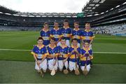 4 September 2016; The Tipperary team, back row, left to right, DJ Hession, Gaelscoil De hÍde, Galway Road, Roscommon, Jack Morrissey, Ballyhea NS, Charleville, Cork, Emmet McGirl, St Mary's NS, Aughnasheelin, Leitrim, Eamon Cunneen, St Mary's NS, Raharney, Westmeath, William Beresford, Garranbane NS, Dungarvan, Waterford, front row, left to right, Augustine Waters, St Patrick's NS, Ballinfull, Maugherow, Sligo, Shea McElroy, St Naile's PS, Corrameen Rd, Kinawley, Fermanagh, Eamon Cassidy, St Brigids, Maghera, Derry, Tristan O'Tuama, Gaelscoil Durlas, Thurles, Leo Hughes, St Patrick's PS Dungannon, Dungannon, Tyrone, ahead of the GAA Hurling All-Ireland Senior Championship Final match between Kilkenny and Tipperary at Croke Park in Dublin. Photo by Daire Brennan/Sportsfile