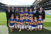 4 September 2016; Vice President of the INTO John Boyle, President of Cumann na mBunscol Liam McGee, President of the Camogie Association Catherine Neary, Uachtarán Chumann Lúthchleas Gaeil Aogán Ó Fearghail, and Mini-Sevens Coordinator Gerry O'Meara, with the Tipperary team, back row, left to right, Jack Morrissey, Ballyhea NS, Charleville, Cork, Emmet McGirl, St Mary's NS, Aughnasheelin, Leitrim, Eamon Cunneen, St Mary's NS, Raharney, Westmeath, front row, left to right, DJ Hession, Gaelscoil De hÍde, Galway Road, Roscommon, Augustine Waters, St Patrick's NS, Ballinfull, Maugherow, Sligo, Shea McElroy, St Naile's PS, Corrameen Rd, Kinawley, Fermanagh, Eamon Cassidy, St Brigids, Maghera, Derry, Tristan O'Tuama, Gaelscoil Durlas, Thurles, Leo Hughes, St Patrick's PS Dungannon, Dungannon, Tyrone, William Beresford, Garranbane NS, Dungarvan, Waterford, ahead of the GAA Hurling All-Ireland Senior Championship Final match between Kilkenny and Tipperary at Croke Park in Dublin. Photo by Daire Brennan/Sportsfile