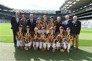 4 September 2016; Vice President of the INTO John Boyle, President of the Camogie Association Catherine Neary, President of Cumann na mBunscol Liam McGee, Uachtarán Chumann Lúthchleas Gaeil Aogán Ó Fearghail, and Mini-Sevens Coordinator Gerry O'Meara, with the Kilkenny team, back row, left to right, Mark Holohan, Scoil Naomh Feichin, Termonfechin, Louth, Edward Greene Harney, Monamolin NS, Gorey, Wexford, Paudie Heavin, Scoil Mhuire na mBuachaillí, Castleblayney, Monaghan, front row, left to right, Gearóid Vaughan, Broadford & Kilbane NS, Broadford, Clare, Oisín Smith, Bruskey NS, Bruskey Ballinagh, Cavan, Kevin Hogan, St Pius X BNS, Terenure, Dublin, Jim Kennedy, St Mary's BNS Rathfarnham, Rathfarnham, Dublin 14, Joe Dundon, Borris Mixed NS, Borris, Carlow, Pádraig Lennon, Scoil Chiaran Naofa, Stoneyford, Kilkenny, Evan Geoghegan, Kildalkey NS, Kildalkey, Meath, ahead of the GAA Hurling All-Ireland Senior Championship Final match between Kilkenny and Tipperary at Croke Park in Dublin. Photo by Daire Brennan/Sportsfile
