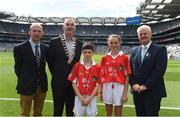 4 September 2016; President of Cumann na mBunscol Liam McGee, Vice-President of the INTO John Boyle, Uachtarán Chumann Lúthchleas Gaeil, with referees, Conor Kenny, St Pius X Boys' NS Fortfield Park, Dublin, and Aoife Cambell, St Pius X Girls' NS Fortfield Park, Dublin, ahead of the GAA Hurling All-Ireland Senior Championship Final match between Kilkenny and Tipperary at Croke Park in Dublin. Photo by Daire Brennan/Sportsfile