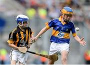 4 September 2016; Eamon Cunneen, St Mary's NS, Raharney, Westmeath, representing Tipperary, in action against Jim Kennedy, St Mary's BNS Rathfarnham, Dublin 14, representing Kilkenny, during the INTO Cumann na mBunscol GAA Respect Exhibition Go Games at the GAA Hurling All-Ireland Senior Championship Final match between Kilkenny and Tipperary at Croke Park in Dublin. Photo by Eóin Noonan/Sportsfile