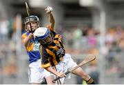 4 September 2016; Jim Kennedy, St Mary's BNS Rathfarnham, Dublin 14, representing Kilkenny, in action against William Beresford, Garranbane NS, Dungarvan, Waterford, representing Tipperary,   during the INTO Cumann na mBunscol GAA Respect Exhibition Go Games at the GAA Hurling All-Ireland Senior Championship Final match between Kilkenny and Tipperary at Croke Park in Dublin. Photo by Eóin Noonan/Sportsfile