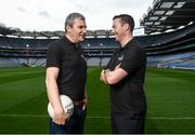9 September 2016; Former Mayo manager James Horan, left, and former Dublin player Ray Cosgrove were in Croke Park in Dublin today to announce details on the EirGrid Digital Clock Competition launch. EirGrid, the Official Timing Sponsor of Croke Park, are giving one club in each province the chance to win a digital clock and scoreboard. To enter please log onto www.eirgridgroup.com/eirgrid-time-is-now and submit 200 words as to why your club deserves this prize.  Photo by Ramsey Cardy/Sportsfile