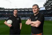 9 September 2016; Former Mayo manager James Horan, right, and former Dublin player Ray Cosgrove were in Croke Park in Dublin today to announce details on the EirGrid Digital Clock Competition launch. EirGrid, the Official Timing Sponsor of Croke Park, are giving one club in each province the chance to win a digital clock and scoreboard. To enter please log onto www.eirgridgroup.com/eirgrid-time-is-now and submit 200 words as to why your club deserves this prize.  Photo by Ramsey Cardy/Sportsfile