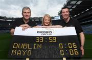 9 September 2016; Former Dublin player Ray Cosgrove and former Mayo manager James Horan were in Croke Park in Dublin today to launce the EirGrid Digital Clock & Scoreboard Competition. EirGrid, the Official Timing Sponsor of Croke Park, are giving one club in each province the chance to win a digital clock and scoreboard. To enter please log onto www.eirgridgroup.com/eirgrid-time-is-now and submit 200 words as to why your club deserves this prize. Pictured are, from left, former Mayo manager James Horan, Rosemary Steen, Director of External Affairs at EirGrid, and former Dublin player Ray Cosgrove. Photo by Ramsey Cardy/Sportsfile