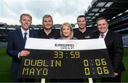 9 September 2016; Former Dublin player Ray Cosgrove and former Mayo manager James Horan were in Croke Park in Dublin today to announce details on the EirGrid Digital Clock Competition launch. EirGrid, the Official Timing Sponsor of Croke Park, are giving one club in each province the chance to win a digital clock and scoreboard. To enter please log onto www.eirgridgroup.com/eirgrid-time-is-now and submit 200 words as to why your club deserves this prize. Pictured are, from left, Rodney Doyle, Director of Markets Operations & General Manager, SEMO of EirGrid, James Horan, Rosemary Steen, Director of External Affairs at EirGrid, Ray Cosgrove and Peter McKenna, GAA and Croke Park Stadium Director. Photo by Ramsey Cardy/Sportsfile