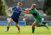 10 September 2016; Conor Dunne of Leinster is tackled by Jack O'Malley of Connacht during the U19 Interprovincial Series Round 2 match between Connacht and Leinster at Galwegians RFC in Galway. Photo by Oliver McVeigh/Sportsfile