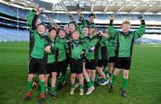 11 January 2011; St. Josephs BNS captain Jack McVeigh is held up by his team-mates as they celebrate winning the Corn na nGearaltach. Allianz Cumann na mBunscol Football Finals, Corn na nGearaltach, St. Pius X BNS, Terenure v St. Josephs BNS, Terenure. Croke Park, Dublin. Picture credit: Barry Cregg / SPORTSFILE