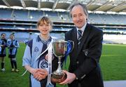 11 January 2011; Scoil Lorcáin captain Hannah Ní Dhea receives the Corn Comhar Linn from Edward O'Riordan, Chairman of Cumann na mBunscol. Allianz Cumann na mBunscol Football Finals, Corn Comhar Linn, Scoil Lorcáin, Monkstown, Dublin v Scoil Loreto, Rathfarnham, Dublin. Croke Park, Dublin. Picture credit: Barry Cregg / SPORTSFILE