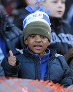 11 January 2011; Karim Ndongosi, aged 6, from Kilnamanagh, Tallaght, Dublin, enjoys a day out in Croke Park. Allianz Cumann na mBunscol Football Finals, Corn na nGearaltach. Croke Park, Dublin. Picture credit: Barry Cregg / SPORTSFILE