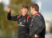 11 January 2011; Ulster's Johann Muller, left, talks to assistant coach Jeremy Davidson during squad training ahead of their Heineken Cup, Pool 4, Round 5, match against Biarritz Olympique on Saturday. Ulster Rugby squad training, Newforge Training Ground, Belfast, Co. Antrim. Picture credit: Oliver McVeigh / SPORTSFILE