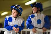 10 September 2016; Brothers James, left, aged 9, and Eddie Jones, aged 8, from Co. Monaghan, at Leopardstown Racecourse in Dublin. Photo by David Fitzgerald/Sportsfile