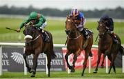 """11 September 2016; Shamreen, with Pat Smullen up, races ahead of Best In The World, with Ryan Moore up, on their way to winning the Moyglare """"Jewels"""" Blandford  Stakes during Irish Champion Weekend at The Curragh in Co. Kildare. Photo by Cody Glenn/Sportsfile"""