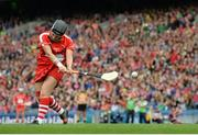 11 September 2016; Cork goalkeeper Aoife Murray takes a first half penalty that was deflected over the bar for a point by Ann Dalton of Kilkenny during the Liberty Insurance All-Ireland Senior Camogie Championship Final match between Cork and Kilkenny at Croke Park in Dublin. Photo by Piaras Ó Mídheach/Sportsfile