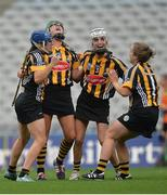 11 September 2016; Kilkenny players left to right, Ann Dalton, Edwina Keane, Davina Tobin and Emma Kavanagh celebrate at the final whistle during the Liberty Insurance All-Ireland Senior Camogie Championship Final match between Cork and Kilkenny at Croke Park in Dublin. Photo by Eóin Noonan/Sportsfile