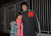 15 January 2011; Munster supporter Aoife Doyle, from Clareview, Limerick, with Donncha O'Callaghan, in Toulon ahead of their side's Heineken Cup, Pool 3, Round 5, game against Toulon on Sunday. Toulon, France. Picture credit: Diarmuid Greene / SPORTSFILE