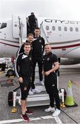 14 September 2016; Dundalk FC players, from left, Michael McEleney, Dane Massey, Shane Grimes and Paddy Barrett pictured at Dublin Airport prior to their departure for their UEFA Europa League Group D Round 1 match against AZ Alkmaar. Photo by David Maher/Sportsfile
