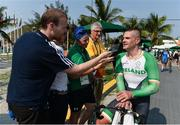 14 September 2016; Colin Lynch of Ireland speaks to reporters after he won a silver medal in the Men's Time Trial C2 at the Pontal Cycling Road during the Rio 2016 Paralympic Games in Rio de Janeiro, Brazil. Photo by Diarmuid Greene/Sportsfile