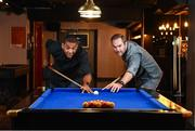 15 September 2016; Buskers On The Ball, Dublin's one-of-a kind social interactive sports bar and entertainment venue officially launched in Dublin last night. Former Irish soccer legends Phil Babb, left, and Jason McAteer cut the ribbon and welcomed guests into Dublin's newest interactive sports bar at the Temple Bar Hotel in Dublin. Photo by Matt Browne/Sportsfile