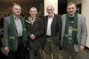21 January 2011; In attendance at the Leitrim Supporters Club 25th Anniversary launch are, from left, Tony Gallogly, Leixlip, Leitrim legend Packie McGarty, Ben Wrynn, Leixlip, and Peter Hugh McPartland, Ballinaglera. Herbert Park Hotel, Ballsbridge, Dublin. Picture credit: Brian Lawless / SPORTSFILE