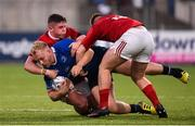 16 September 2016; Jeremy Loughman of Leinster is tackled by Joey Conway and Rory Burke of Munster during the U20 Interprovincial Series Round 3 match between Leinster and Munster at Donnybrook Stadium in Donnybrook, Dublin. Photo by Matt Browne/Sportsfile