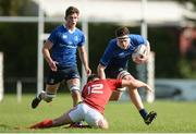 17 September 2016; Jack Dunne of Leinster is tackled by Peter Silvester of Munster during the U19 Interprovincial Series Round 3 match between Leinster and Munster at Old Belvedere RFC in Dublin. Photo by Eóin Noonan/Sportsfile