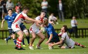 17 September 2016; Cian Prendergast of Leinster is tackled by Jamie Macartney of Ulster during the U18 Schools Interprovincial Series Round 3 match between Ulster and Leinster at Methodist College in Belfast.  Photo by Oliver McVeigh/Sportsfile
