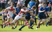 17 September 2016; Liam Turner of Leinster is tackled by JJ McKee of Ulster during the U18 Schools Interprovincial Series Round 3 match between Ulster and Leinster at Methodist College in Belfast. Photo by Oliver McVeigh/Sportsfile