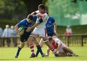 17 September 2016; Cormac Foley of Leinster is tackled by Oisin Kiernan of Ulster during the U18 Schools Interprovincial Series Round 3 match between Ulster and Leinster at Methodist College in Belfast.  Photo by Oliver McVeigh/Sportsfile