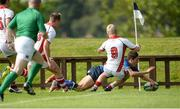 17 September 2016; Sam Barry of Leinster scores his sides first try in the corner during the U18 Schools Interprovincial Series Round 3 match between Ulster and Leinster at Methodist College in Belfast. Photo by Oliver McVeigh/Sportsfile