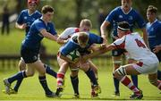 17 September 2016; Adam Fleming of Leinster is tackled by Moore and JJ McKee of Ulster during the U18 Schools Interprovincial Series Round 3 match between Ulster and Leinster at Methodist College, Belfast.   Photo by Oliver McVeigh/Sportsfile