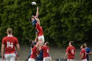 17 September 2016; Jack Dunne of Leinster contests a line out with Richard Thompson of Munster during the U19 Interprovincial Series Round 3 match between Leinster and Munster at Old Belvedere RFC, Dublin.  Photo by Eóin Noonan/Sportsfile