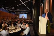 17 September 2016; Former Dublin footballer Tony Hanahoe speaks at the GPA Former Players Event in Croke Park. Over 450 former county footballers and hurlers gathered at the annual lunch which is now in its fourth year. The event featured GPA Lifetime Achievement Awards for Mayo football hero of the 1950s Paddy Prendergast and Cork dual legend, Ray Cummins at Croke Park, Dublin.  Photo by Cody Glenn/Sportsfile