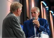 17 September 2016; Former Cork hurler and footballer Ray Commins with Mícheál Ó Muircheartaigh at the GPA Former Players Event in Croke Park. Over 450 former county footballers and hurlers gathered at the annual lunch which is now in its fourth year. The event featured GPA Lifetime Achievement Awards for Mayo football hero of the 1950s Paddy Prendergast and Cork dual legend, Ray Cummins at Croke Park, Dublin.  Photo by Matt Browne/Sportsfile