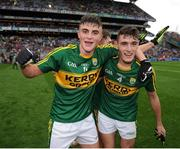 18 September 2016; Seán O'Shea, left, and Graham O'Sullivan of Kerry celebrate following their side's victory after the Electric Ireland GAA Football All-Ireland Minor Championship Final match between Kerry and Galway at Croke Park in Dublin. Photo by Seb Daly/Sportsfile