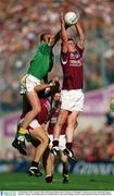 23 September 2001; John McDermott of Meath climbs above Joe Bergin of Galway to contest possession with Paul Clancy during the GAA Football All-Ireland Senior Championship Final match between Galway and Meath at Croke Park in Dublin. Photo by Brendan Moran/Sportsfile