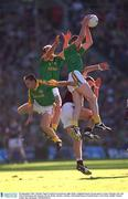 23 September 2001; Nigel Crawford of Meath, second from right, fields a high ball ahead of team-mates Cormac Murphy, left, and John McDermott and Galway's Kevin Walsh during the GAA Football All-Ireland Senior Championship Final match between Galway and Meath at Croke Park in Dublin. Photo by Ray McManus/Sportsfile