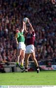 23 September 2001; John McDermott of Meath in action against Kevin Walsh of Galway during the GAA Football All-Ireland Senior Championship Final match between Galway and Meath at Croke Park in Dublin. Photo by Aoife Rice/Sportsfile