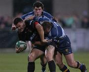28 September 2001; Cedric Debrousse, Toulouse, in action against Leinster's Keith Gleeson and Shane Horgan. Leinster v Toulouse, Heineken European Cup, Donnybrook, Dublin, Ireland. Rugby. Picture credit; Brendan Moran / SPORTSFILE *EDI*