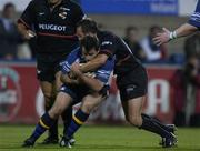 28 September 2001; Nathan Spooner, Leinster, is tackled by David Aucagne, Toulouse. Leinster v Toulouse, Heineken European Cup, Donnybrook, Dublin, Ireland. Rugby. Picture credit; Brendan Moran / SPORTSFILE *EDI*