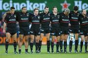 28 September 2001; The Toulouse team stands for a minute silence to remember the victims of the explosion in Toulouse. Leinster v Toulouse, Heineken European Cup, Donnybrook, Dublin, Ireland. Rugby. Picture credit; Aoife Rice / SPORTSFILE *EDI*