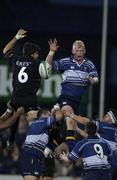 28 September 2001; Leinster's Leo Cullen wins the lineout against Jean Bouilhou, Toulouse. Leinster v Toulouse, Heineken European Cup, Donnybrook, Dublin, Ireland. Rugby. Picture credit; Brendan Moran / SPORTSFILE *EDI*