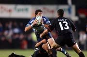 28 September 2001; Leinster's Shane Horgan is tackled by Jerome Fillol and Cedric Debrosse, Toulouse. Leinster v Toulouse, Heineken European Cup, Donnybrook, Dublin, Ireland. Rugby. Picture credit; Aoife Rice / SPORTSFILE *EDI*