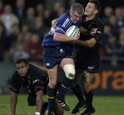 28 September 2001; Leinster's Victor Costello is tackled by David Aucagne, Toulouse. Leinster v Toulouse, Heineken European Cup, Donnybrook, Dublin, Ireland. Rugby. Picture credit; Brendan Moran / SPORTSFILE *EDI*