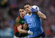 18 September 2016; Diarmuid Connolly of Dublin in action against Lee Keegan of Mayo during the GAA Football All-Ireland Senior Championship Final match between Dublin and Mayo at Croke Park in Dublin. Photo by Seb Daly/Sportsfile