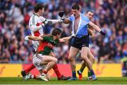 18 September 2016; Diarmuid Connolly of Dublin tussles with Lee Keegan, second from left, David Clarke, left, and Keith Higgins, right, of Mayo during the GAA Football All-Ireland Senior Championship Final match between Dublin and Mayo at Croke Park in Dublin. Photo by Stephen McCarthy/Sportsfile