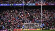 18 September 2016; Mayo supporters in the Davin stand celebrate as Cillian O'Connor of Mayo's kick goes over the bar to equalise the game near the end of the GAA Football All-Ireland Senior Championship Final match between Dublin and Mayo at Croke Park in Dublin. Photo by Ray McManus/Sportsfile