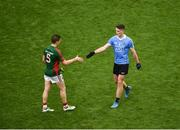 18 September 2016; Brian Fenton of Dublin and Lee Keegan of Mayo shake hands after the GAA Football All-Ireland Senior Championship Final match between Dublin and Mayo at Croke Park in Dublin. Photo by Daire Brennan/Sportsfile