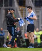 18 September 2016; Diarmuid Connolly of Dublin gets a replacement jersey after it was torn jersey in an off the ball incident with Lee Keegan of Mayo during the GAA Football All-Ireland Senior Championship Final match between Dublin and Mayo at Croke Park in Dublin. Photo by Piaras Ó Mídheach/Sportsfile